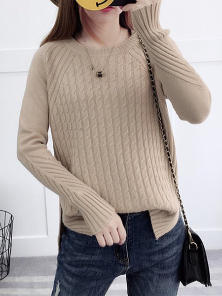 Khaki Cable Knitted Long Sleeve Sweater