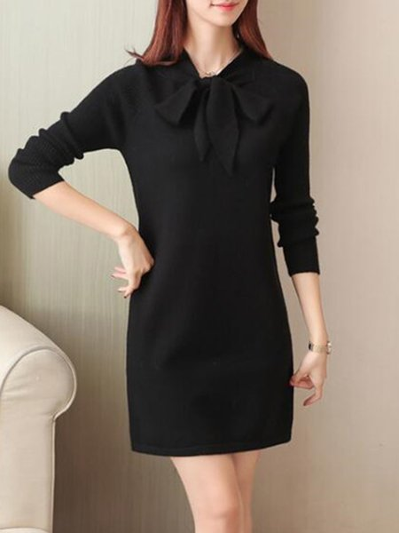 Black Knitted Tie-neck Long  Sleeve Dress