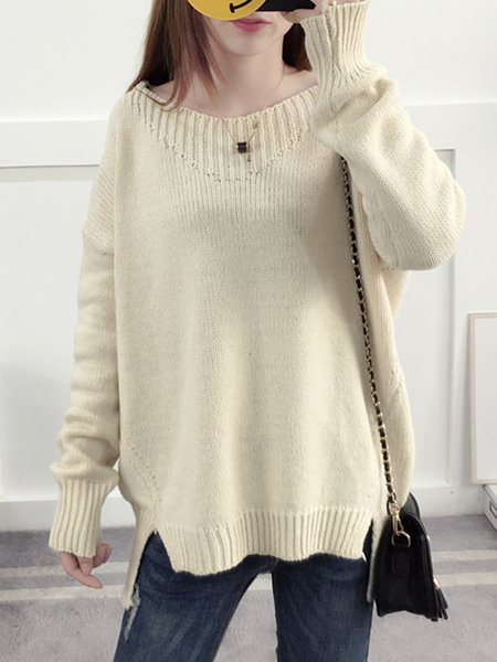 Long Sleeve Knitted High Low Sweater