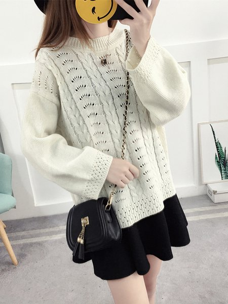 Casual Long Sleeve Solid Knitted H-line Sweater