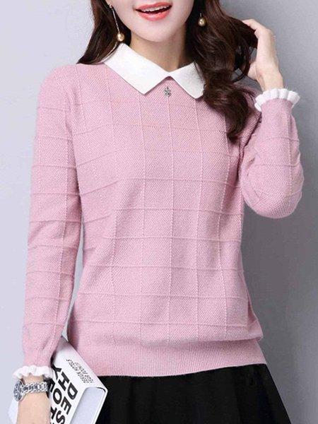 Shirt Collar Knitted Long Sleeve Sweater