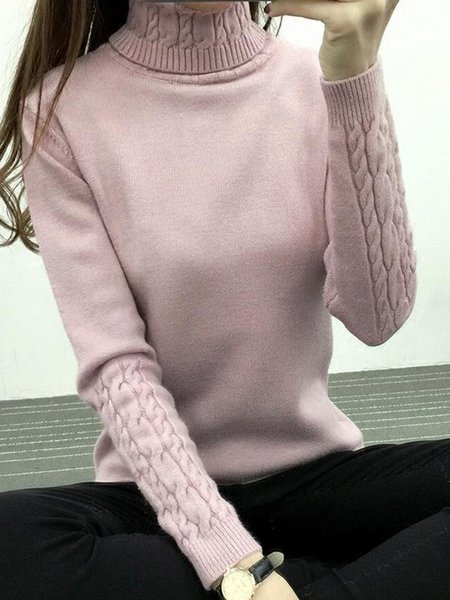 Solid Casual Knitted Turtleneck Sweater