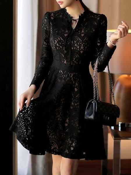Black Women Prom Dress Keyhole A-line Going out Elegant Guipure lace Dress