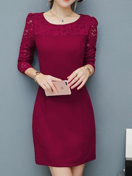 Crew Neck Elegant Long Sleeve Guipure Lace  Dress