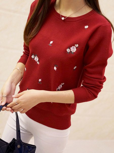 Long Sleeve Floral-embroidered Knitted Crew Neck Casual Sweater