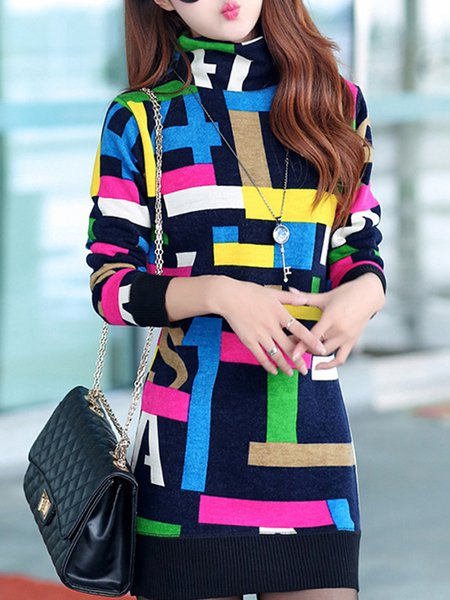 Multicolor Knitted Turtle Neck Long Sleeve Sheath Dress