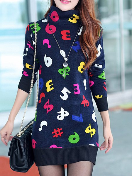 Letter Turtleneck Knitted Long Sleeve Casual Dress