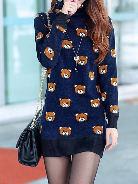 Navy Blue Knitted Casual Sheath Animal Dress