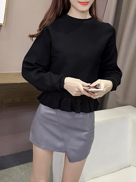 Crew Neck Girly Knitted Batwing Sweater