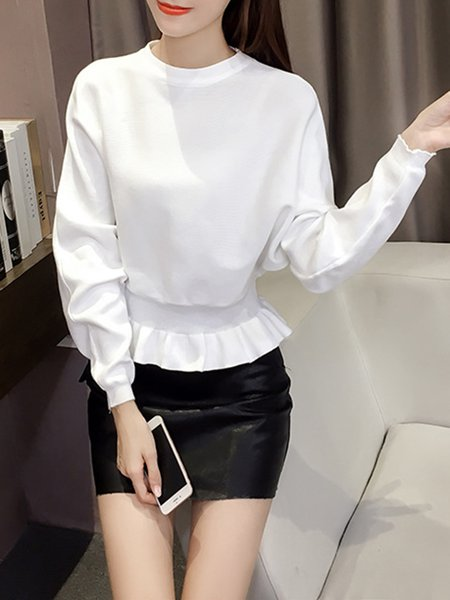 Girly Crew Neck Batwing Knitted Ruffled Sweater