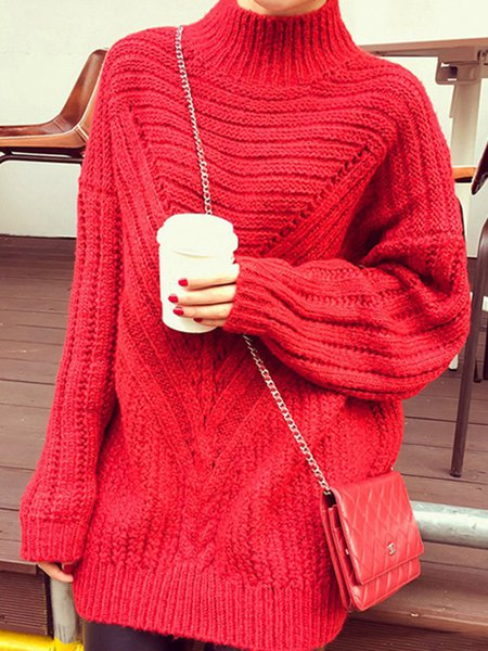Knitted Casual Stand Collar Long Sleeve Sweater
