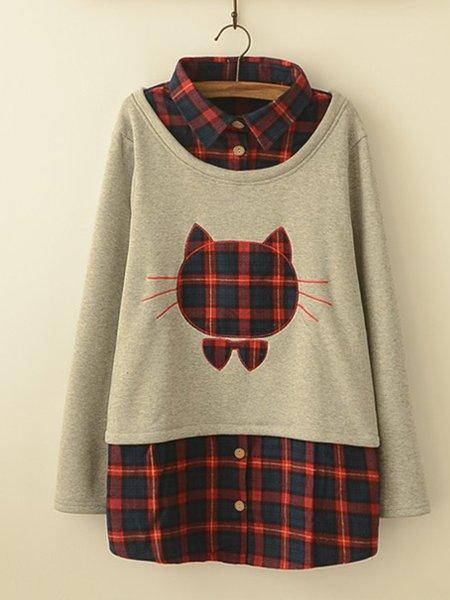 Casual Plaid Shirt Collar Cute  Fleece-lined Sweatshirt