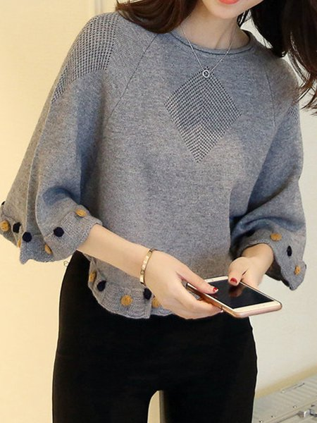 Knitted Crew Neck Ruffled Poncho