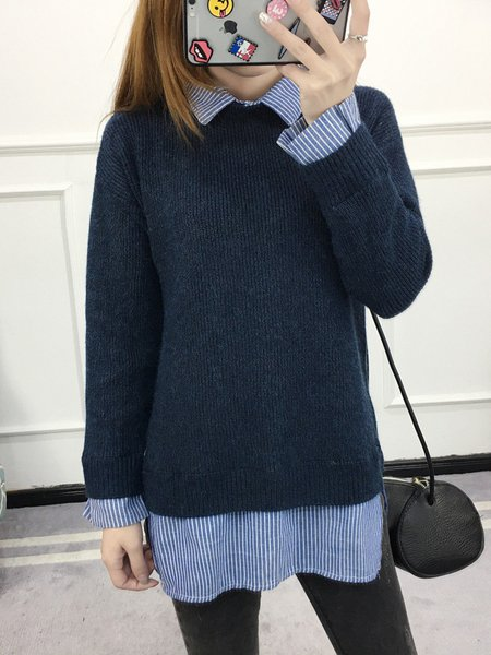 Paneled Buttoned Long Sleeve Knitted Sweater