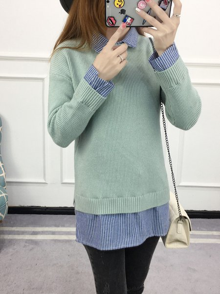 Knitted Long Sleeve Paneled Shirt Collar Sweater