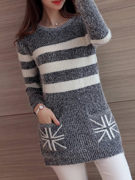 Stripes Knitted Long Sleeve Sweater