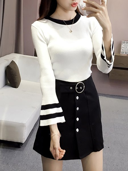Bell Sleeve Knitted Sheath Sweater