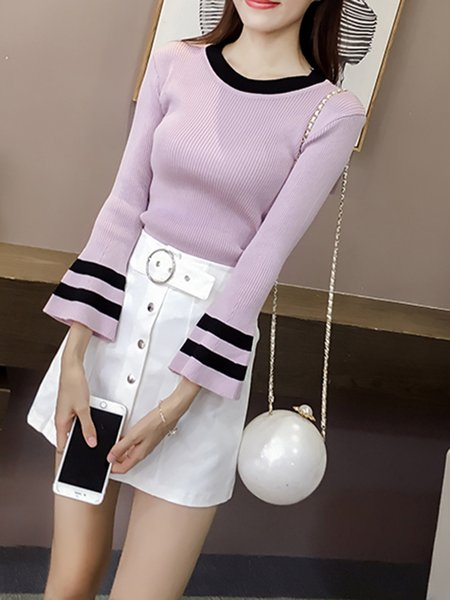 Crew Neck Casual Bell Sleeve Knitted Sweater