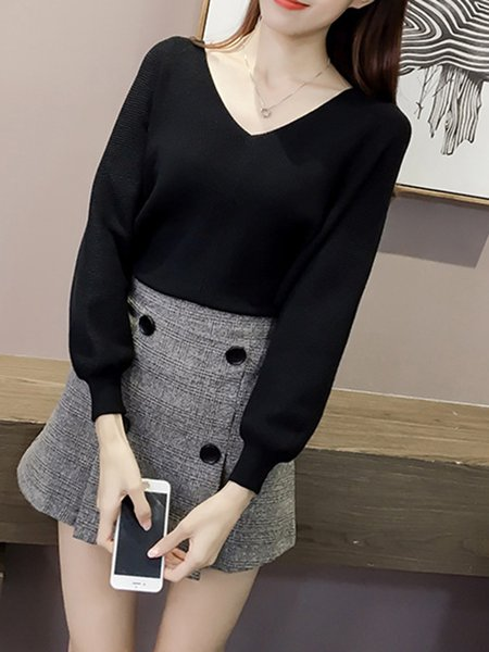 Black V Neck Balloon Sleeve Knitted Sweater