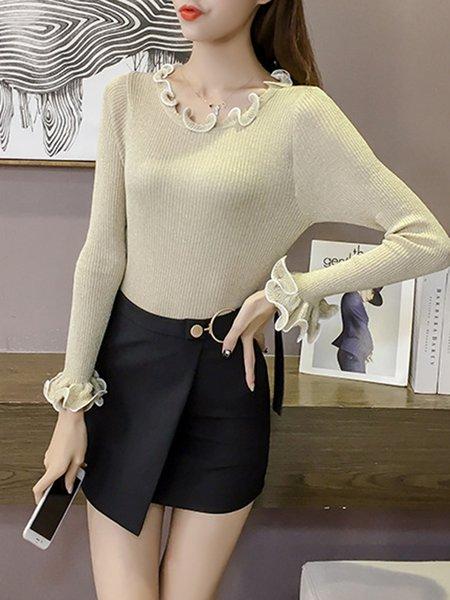 Knitted Sheath Ruffled Elegant Sweater