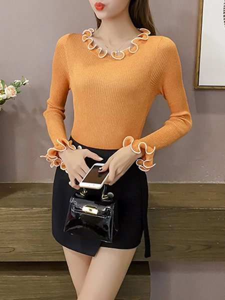 Knitted Elegant Sheath Ruffled Sweater