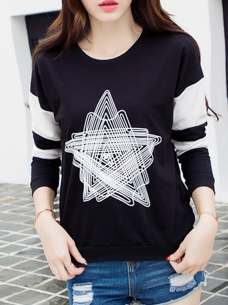 Casual Long Sleeve Crew Neck Printed  T-Shirt