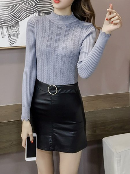 Sheath Knitted Long Sleeve Solid Sweater
