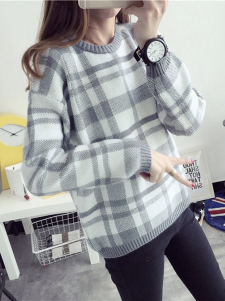 H-line Checkered/Plaid Casual Sweater