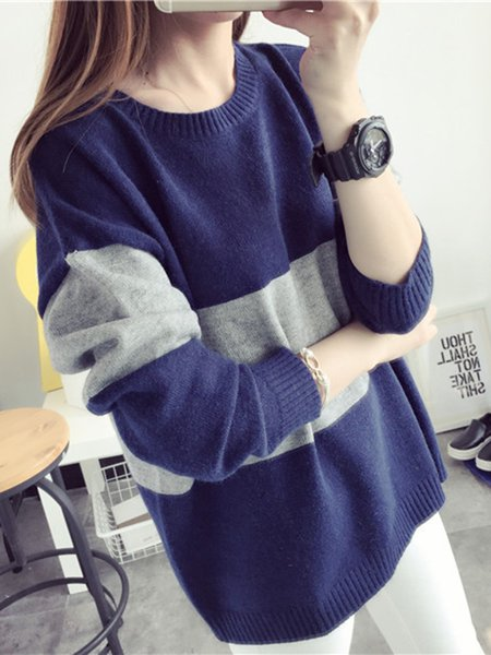 Long Sleeve Knitted Color-block Crew Neck Sweater