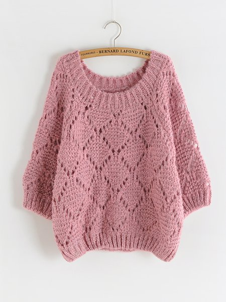 Solid Casual Long Sleeve Knitted Sweater