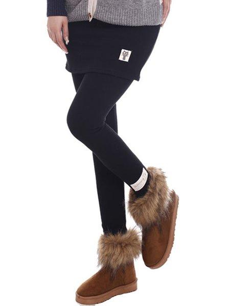 Fleece-lined Plain Cute Pockets Leggings
