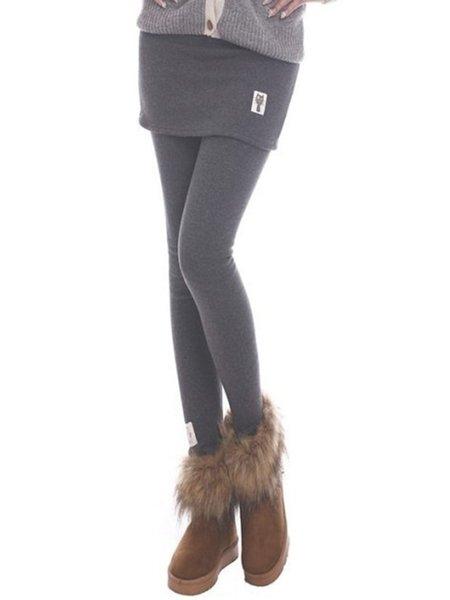 Light Gray Plain Paneled Fleece-lined Leggings