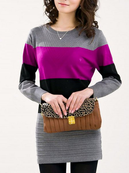 Long Sleeve Knitted Casual Color-block Dress