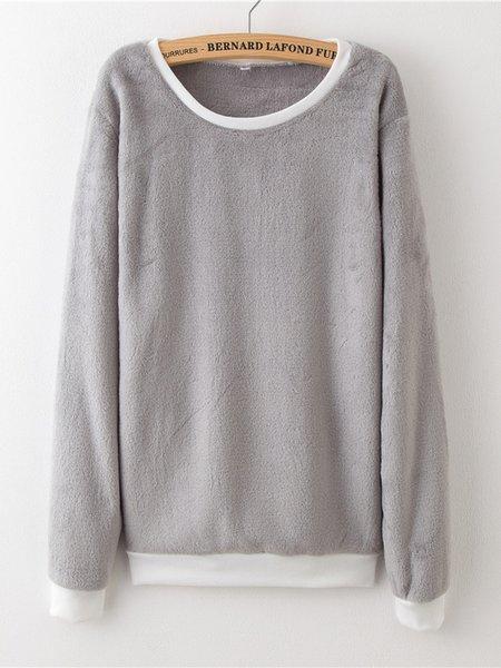 Crew Neck Long Sleeve Plain Coral Fleece Sweatshirt