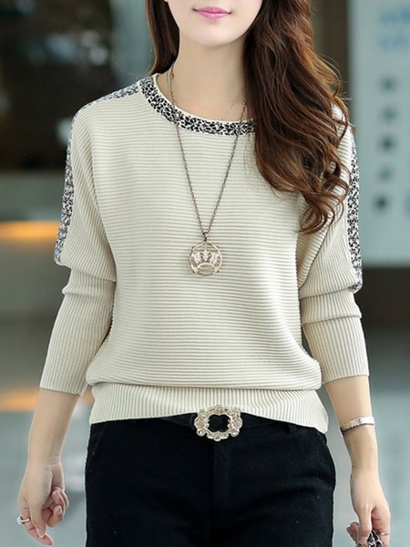 Knitted Crew Neck Batwing Casual Sweater