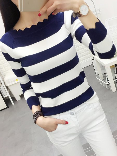 Knitted Long Sleeve Stripes Sweater