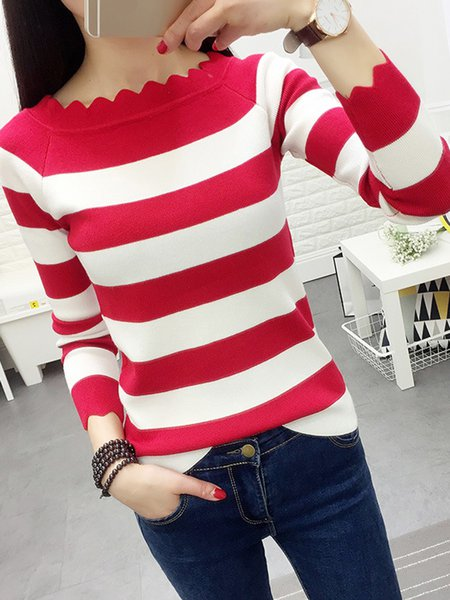 Knitted Long Sleeve Stripes Casual Sweater