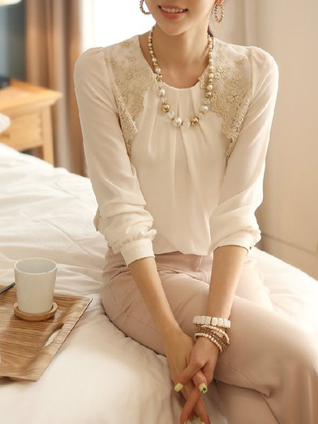 Embroidered Chiffon Long Sleeve Casual Blouse