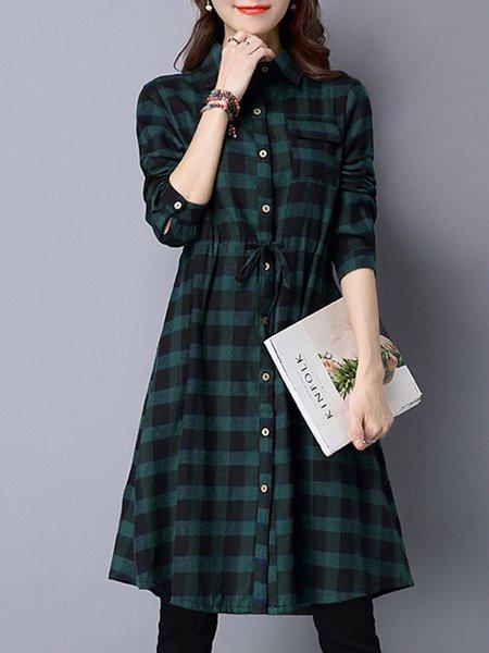 Green Shirt Collar Checkered/Plaid Casual Linen Dress