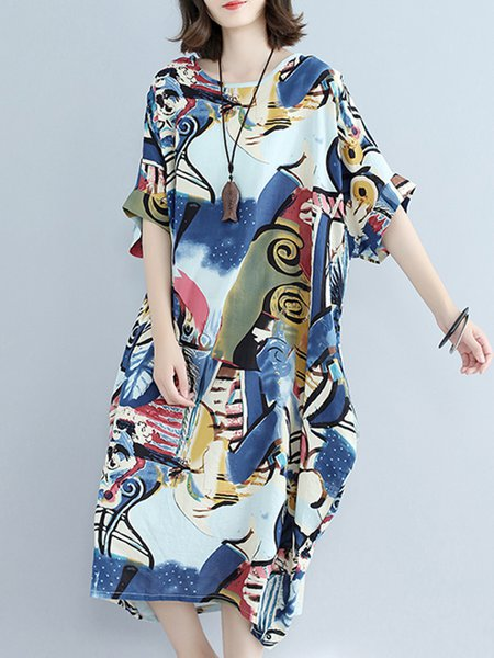 Blue Casual Cocoon Printed Cotton Linen Dress