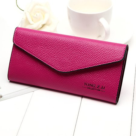 Elegant Envelope Shape Wallet Purse PU Leather Portable Phone Bag