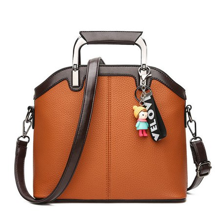 Women Chic Elegant Patchwork Handbag Cute Pendant Crossbody Bag