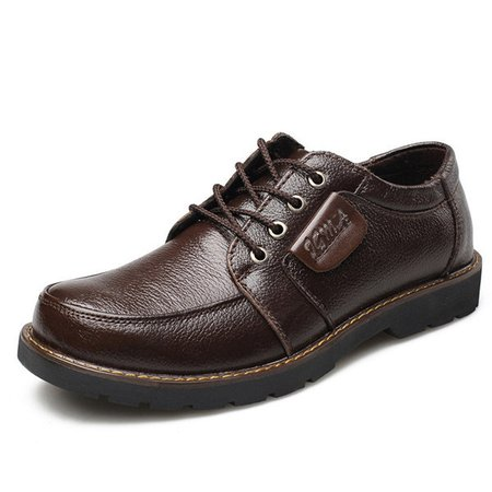 Men Big Head Comfortable Lace Up Faux Leather Business Casual Shoes