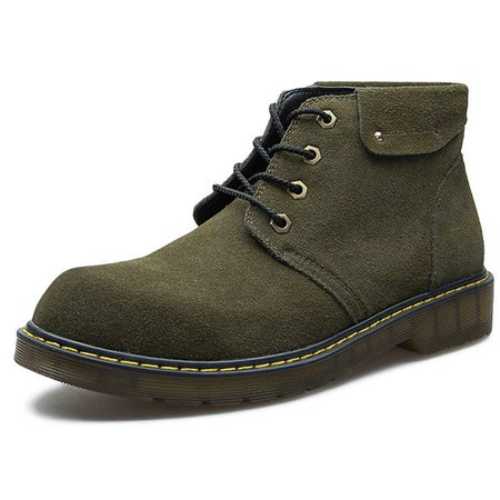 Men Large Size British Style Lace Up Wear-resistant Ankle Boots