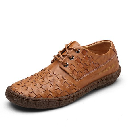 Men Faux Leather Breathable Knitted Lace Up Casual Shoes