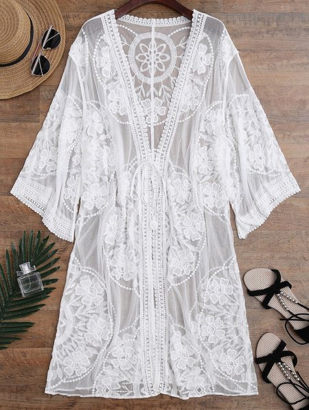 Sheer Crocheted Lace Tie Front Kimono Cover Up