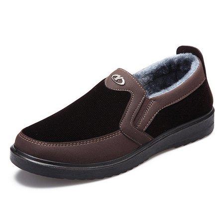 Men Old Peking Style Warm Plush Lining Slip On Boots