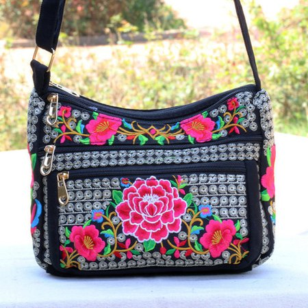 Embroidery Canvas Ethnic Style Flower Pattern Crossbody Shoulder Bags