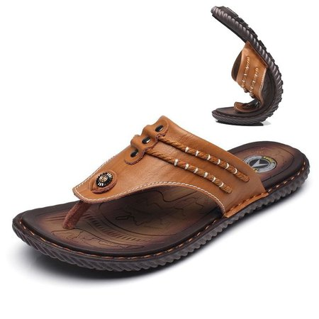 Men Hand Stitching Soft Clip Toe Beach Slippers Waterproof Leather Sandals
