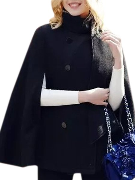 Women Double Breasted Stand Collar Black Cloak Cape Coat ...